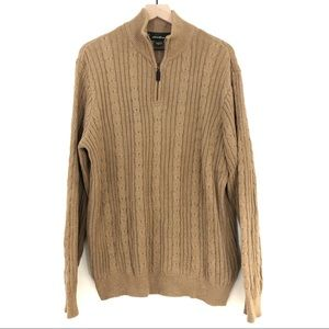 Eddie Bauer | Camel Cable Knit 1/4 Zip Pullover